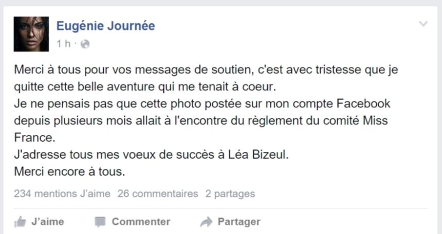 Post d'Eugénie Journée sur son compte Facebook